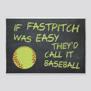 Chalkboard If Fastpitch Was Easy 5'x7'Area Rug