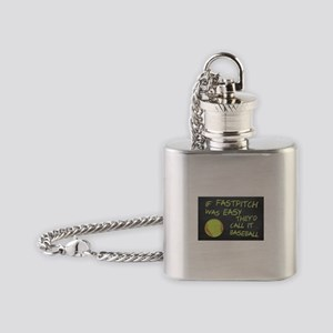 Chalkboard If Fastpitch Was Easy Flask Necklace