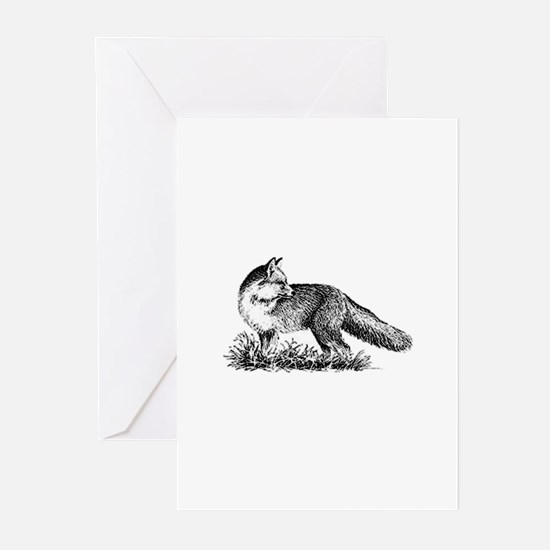 Red Fox (illustration) Greeting Cards