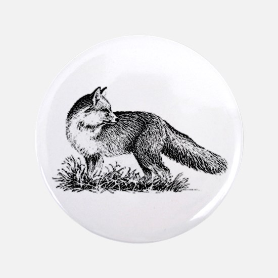 "Red Fox (illustration) 3.5"" Button"