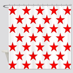 Red Stars On White Shower Curtain