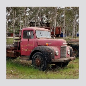 Old red truck Tile Coaster