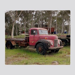 Old red truck Throw Blanket