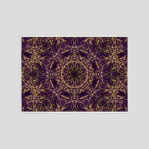 Purple Mandala Hippie Pattern 5'x7'Area Rug