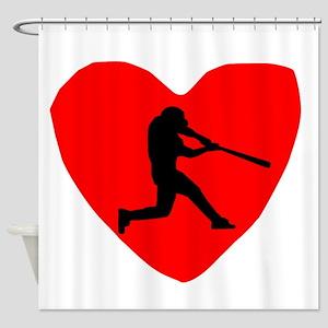 Baseball Heart Shower Curtain