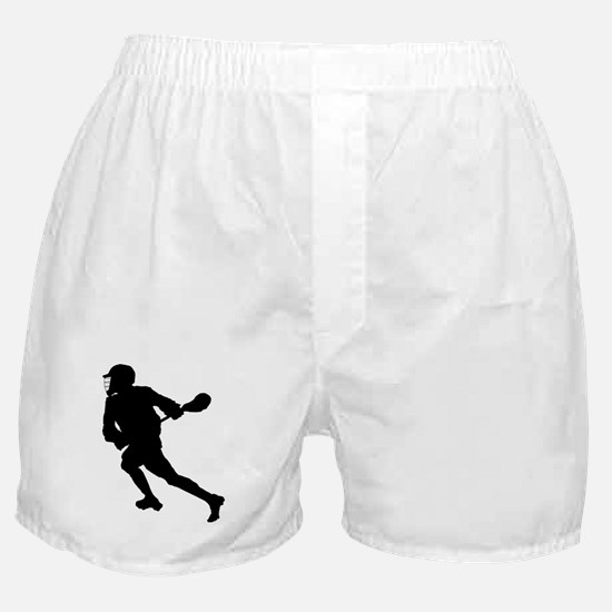 Lacrosse Player Silhouette Boxer Shorts