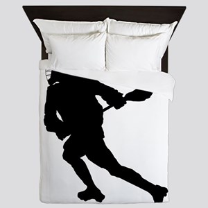 Lacrosse Player Silhouette Queen Duvet