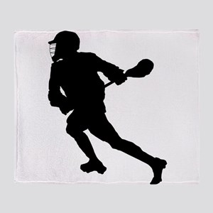 Lacrosse Player Silhouette Throw Blanket