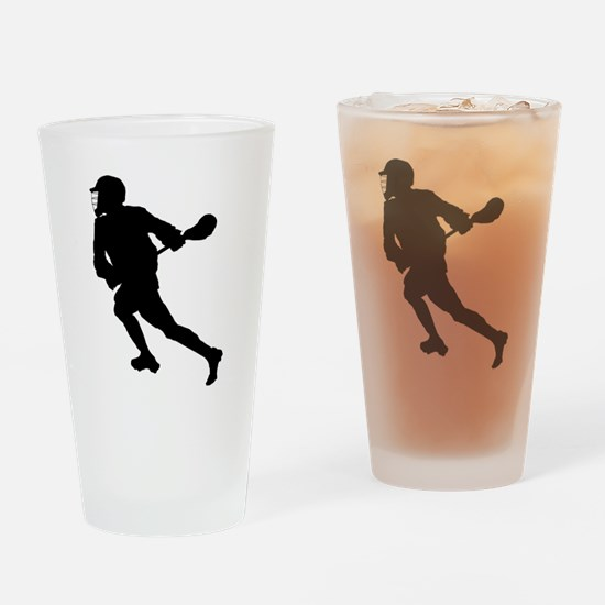 Lacrosse Player Silhouette Drinking Glass