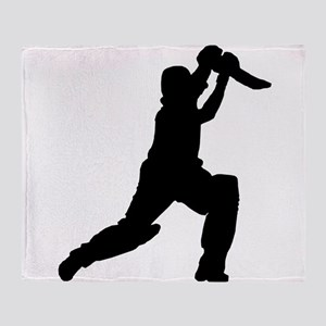 Cricket Player Silhouette Throw Blanket