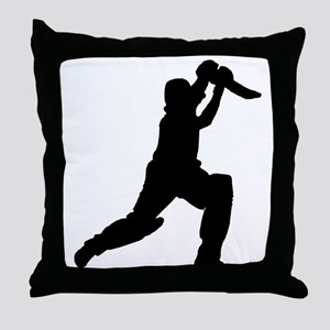 Cricket Player Silhouette Throw Pillow