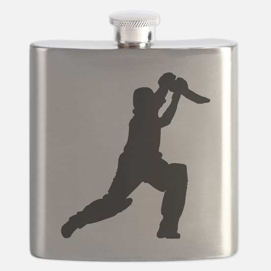 Cricket Player Silhouette Flask
