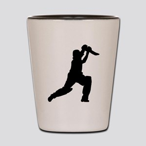 Cricket Player Silhouette Shot Glass