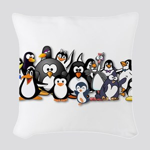 Penguins Woven Throw Pillow