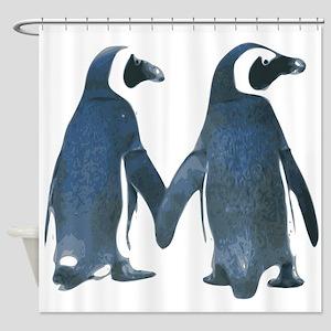 Penguins Holding Hands Shower Curtain