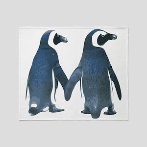 Penguins Holding Hands Throw Blanket