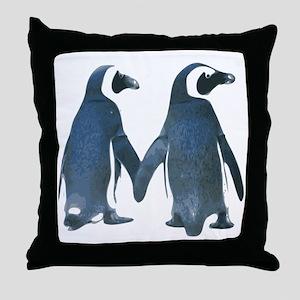 Penguins Holding Hands Throw Pillow