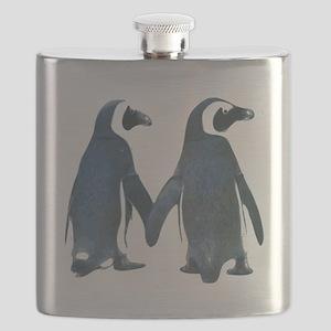 Penguins Holding Hands Flask