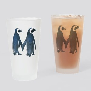 Penguins Holding Hands Drinking Glass