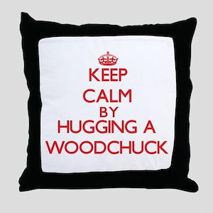 Keep calm by hugging a Woodchuck Throw Pillow
