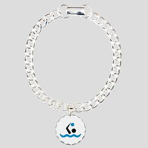 Water polo logo Charm Bracelet, One Charm