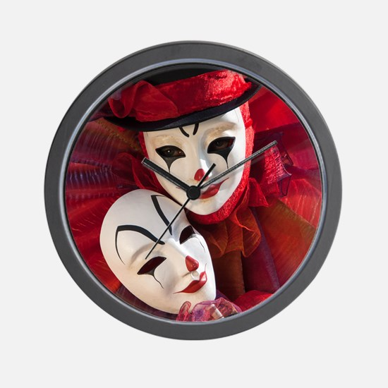 Portrait of Clown with Mask Wall Clock