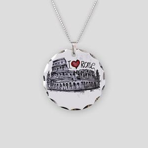 I love Rome  Necklace Circle Charm
