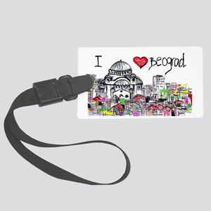 I love Beograd Large Luggage Tag