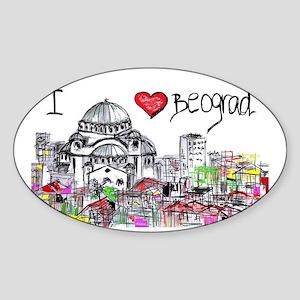 I love Beograd Sticker (Oval)