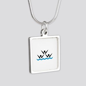 Synchronized swimming icon Silver Square Necklace