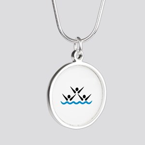 Synchronized swimming icon Silver Round Necklace