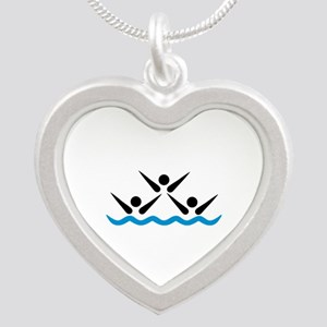Synchronized swimming icon Silver Heart Necklace