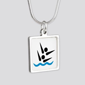 Synchronized swimmer Silver Square Necklace