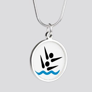 Synchronized swimmer Silver Round Necklace