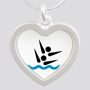 Synchronized swimmer Silver Heart Necklace