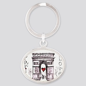 Paris with love  Oval Keychain