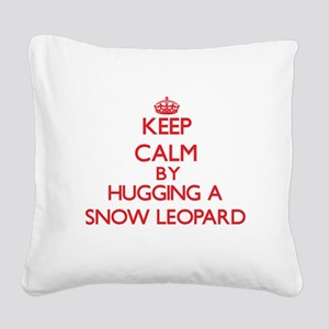 Keep calm by hugging a Snow Leopard Square Canvas