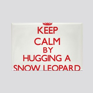 Keep calm by hugging a Snow Leopard Magnets
