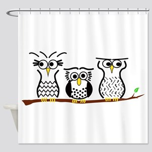 Three Little Owls Shower Curtain
