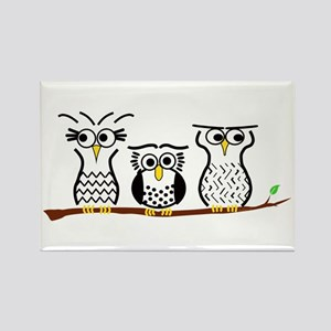 Three Little Owls Rectangle Magnet