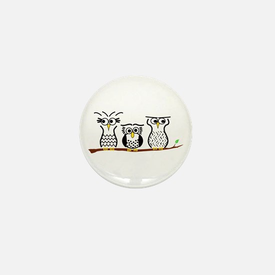 Three Little Owls Mini Button