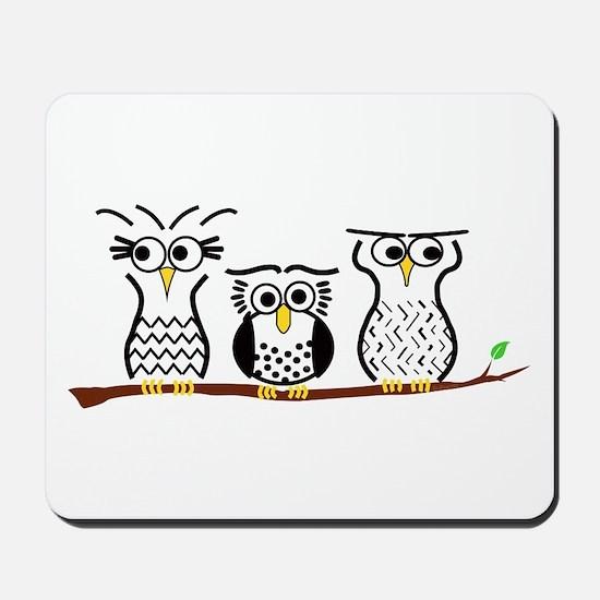 Three Little Owls Mousepad