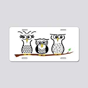 Three Little Owls Aluminum License Plate