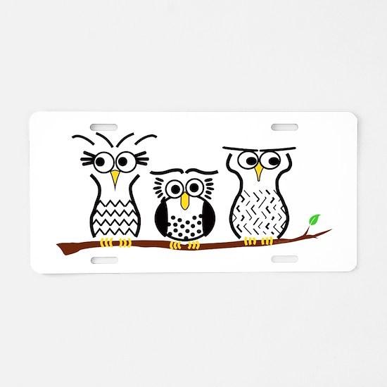 Three Little Owls Aluminum License Plate