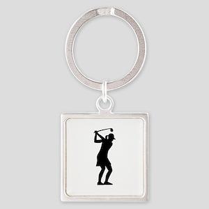 Golf woman Square Keychain