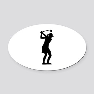 Golf woman Oval Car Magnet