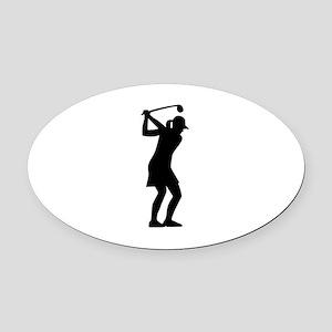 Golf woman Oval Car Magnet