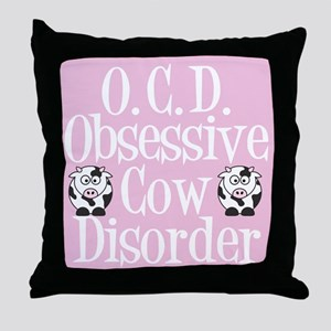 Pretty Pink Cow Throw Pillow