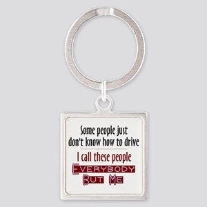 Bad Drivers (Red) Square Keychain