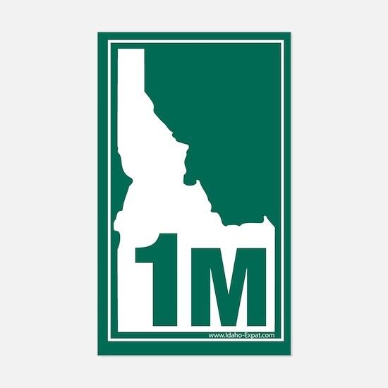 1M County Map, 3X5 Sticker (Grn-Wht)
